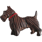 Vintage Hand Carved Wood Scottie Dog with Red Collar Brooch