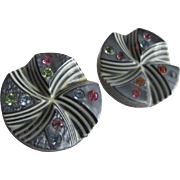 Art Deco Celluloid Grey and Cream Layered and Cut back Clips with Rhinestones