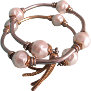 Vintage Unsigned Miriam Haskell Faux Pearl Tasseled Memory Bracelet
