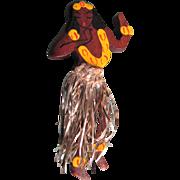 Art Deco Wood Novelty Hand Painted Hawaiian Girl with Original Tinsel Skirt Brooch