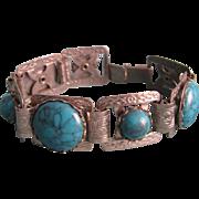 Art Deco Unsigned Jakob Bengel  Chrome Galalith Turquoise Cabochons Bracelet