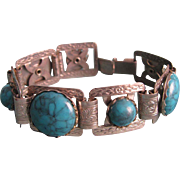 Vintage Unsigned Chrome Galalith Turquoise Cabochons Bracelet