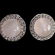 Vintage Semi Precious Rose Quartz Cabochon Pierced Earrings with Channel set Rhinestones