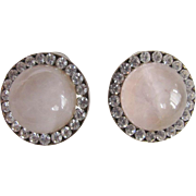 Vintage Semi Precious Rose Quartz Cabochon Pierced Earrings with Channel set Rhinestones
