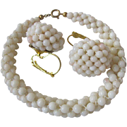 Vintage Angel skin Woven Coral Demi Parure with Certified Appraisal $800