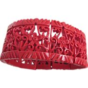 Art Deco Red Asian Style Pierced Celluloid Stretch Bracelet