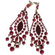 Vintage Oxblood Faux Coral Cabochons & Enamelled CHANDELIER Pierced Earrings