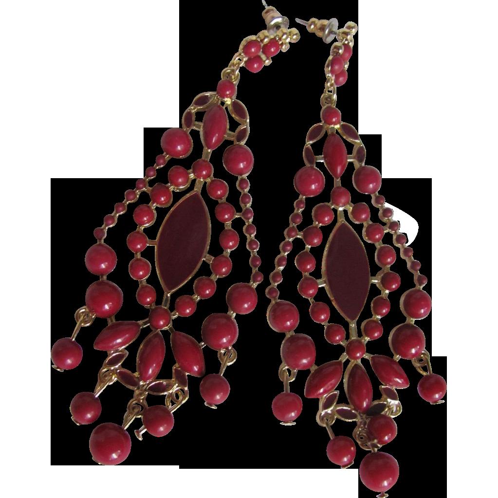Vintage Oxblood Faux Coral Cabochons & Enamelled CHANDELIER Pierced Earrings