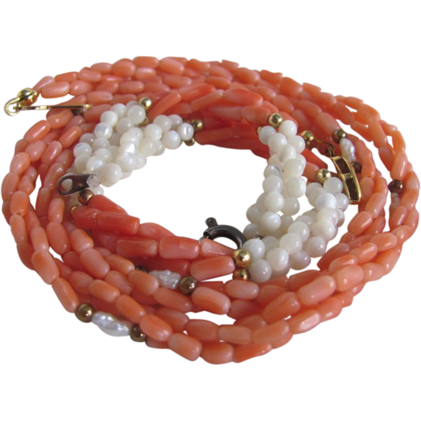 Vintage Angelskin Genuine Carved Coral & MOP Demi Parure/Bracelet & Necklace