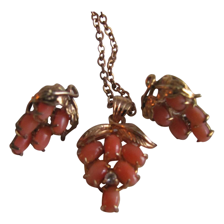 Vintage Genuine Coral Cabochon set of Grape Clusters/ Victorian Revival  with Certified Appraisal $315