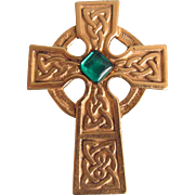 Mid Century Signed Danecraft Celtic Cross with Green Cabochon Brooch
