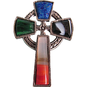 Vintage Miracle Celtic Cross with Glass Agate, Malachite, Lapis Stones Brooch