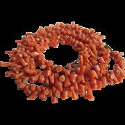 Victorian Genuine Bark Salmon Coral Push Clasp NECKLACE  with Bonus Screwback Earrings
