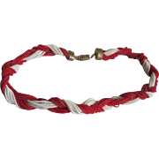 WWII Unsigned Miriam Haskell Red & White Coil Braided Necklace/Bracelet