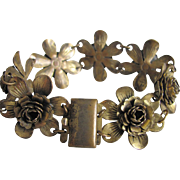 Victorian Gilt Brass Flower Link with Box Clasp