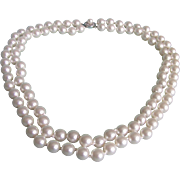 Vintage Faux Pearls Double Strand with Sterling Silver Box Filagree Clasp