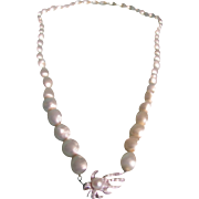 Vintage Signed Les Bernard Inc Baroque Faux Pearl with Cultured Pearl on Rhinestone Box Clasp Necklace