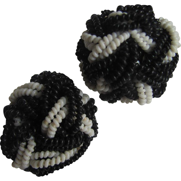 Unsigned Miriam Haskell Black & White  Coil Braided & Knotted Earrings