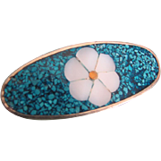Vintage Real Turquoise Chip Mosaic MOP flower Brooch