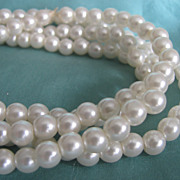 2 FOR 1 OFFER Vintage Faux Creamy White Pearl Opera Length Necklace