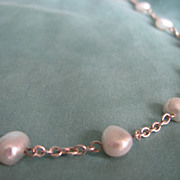 Vintage Cultured Freshwater Pearls light grey Stations of silvertone Chain