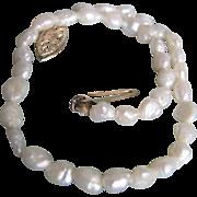 Vintage 14kt Gold Natural Freshwater Rice Pearls  Bracelet