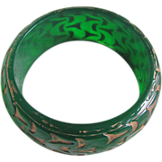80's Resin Carved and overdyed Green Transparent  Bangle 2 FOR 1 OFFER