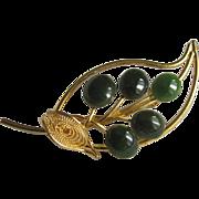 Mid Century  Genuine Semi Precious Jade Cabochon Leaf Brooch