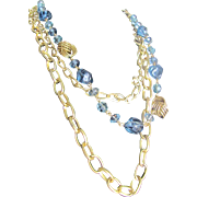 "Vintage ""Triple Threat""  Chains with Blue Lucite Stations"