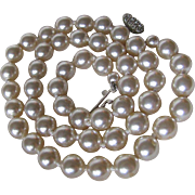 Vintage Glass Faux Knotted Pearl Necklace with Rhinestone Clasp