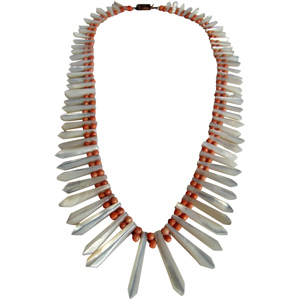 Victorian Antique Angelskin Coral and Carved MOP Graduated Necklace