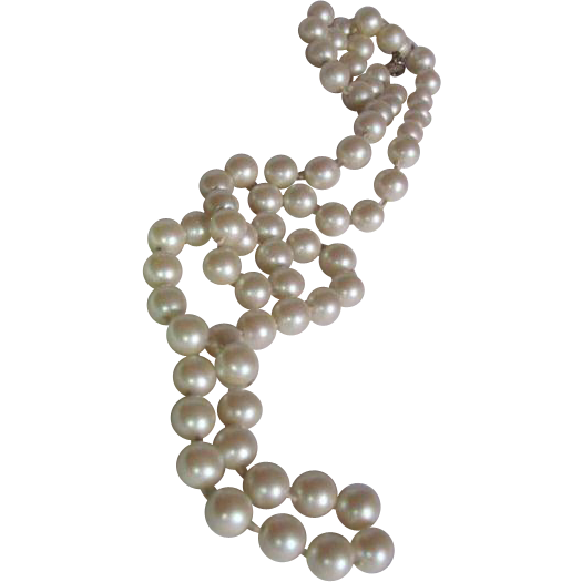 Vintage Signed Cadoro Faux Pearl Opera Length Hand Knotted necklace