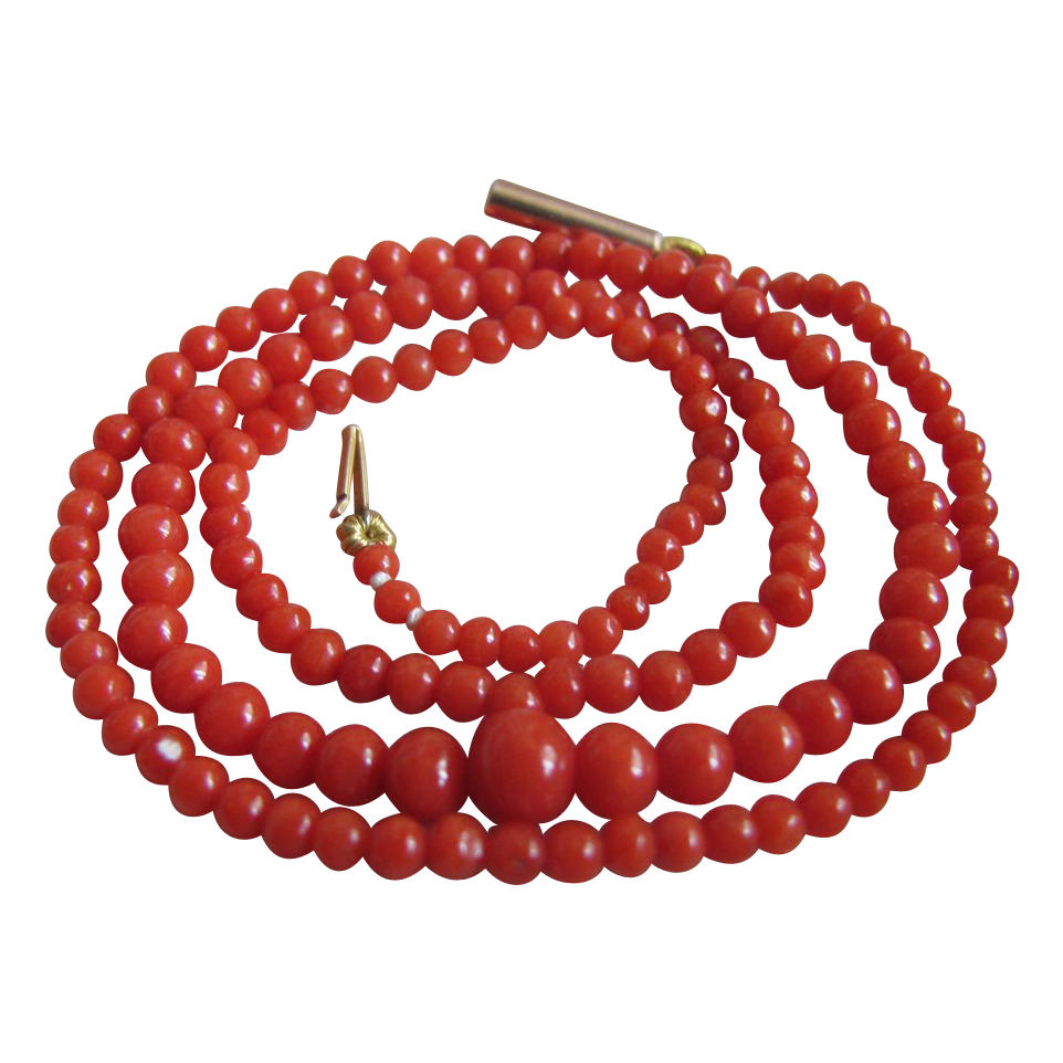 Victorian 9ct Gold Natural Italian Sardinian Red Coral Necklace