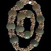 Art Deco Jakob Bengel Green Galalith Link Bracelet & Necklace