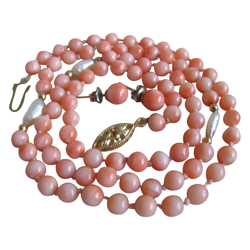 "Vintage Angelskin Coral & Rice Pearl 22"" Necklace with 6mm Earrings"