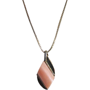 Vintage Angelskin Coral Pendant on Italian Sterling silver GP Frame & Chain