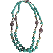 Art Deco Unsigned Turquoise Glass & Art Glass with Rock Crystal Spacers Necklace