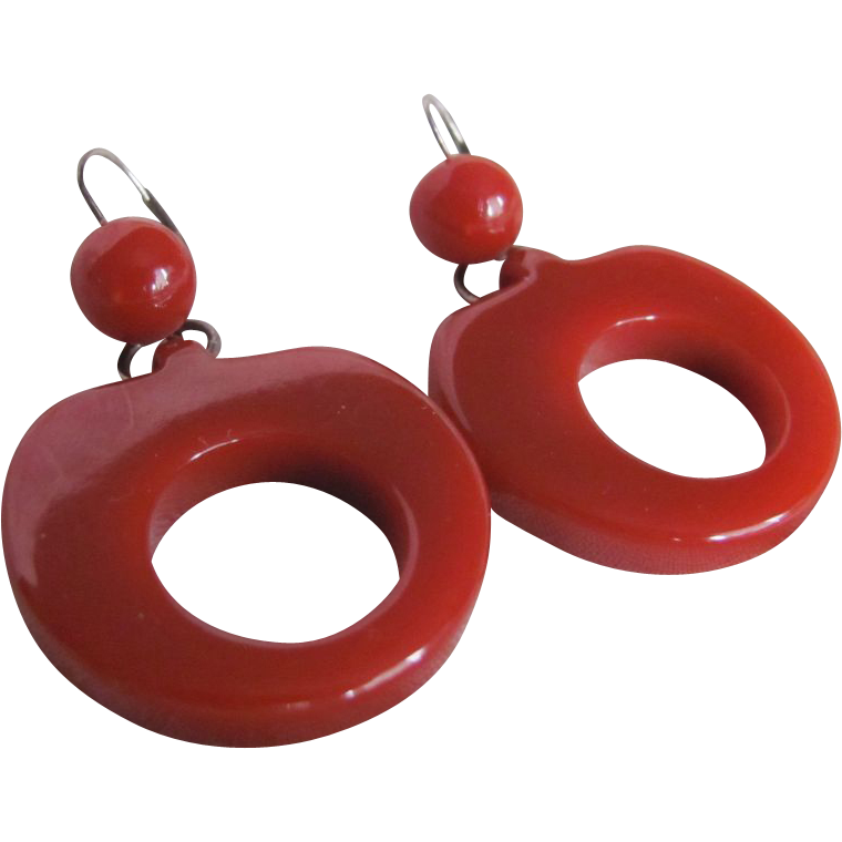 Art Deco Cranberry Red Bakelite Remounted on St. Silver French Clip Earrings