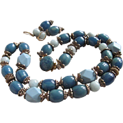 Little Creations Remix of Rare Blue Bakelite, Aquamarine and Galalith Bead Demi Parure