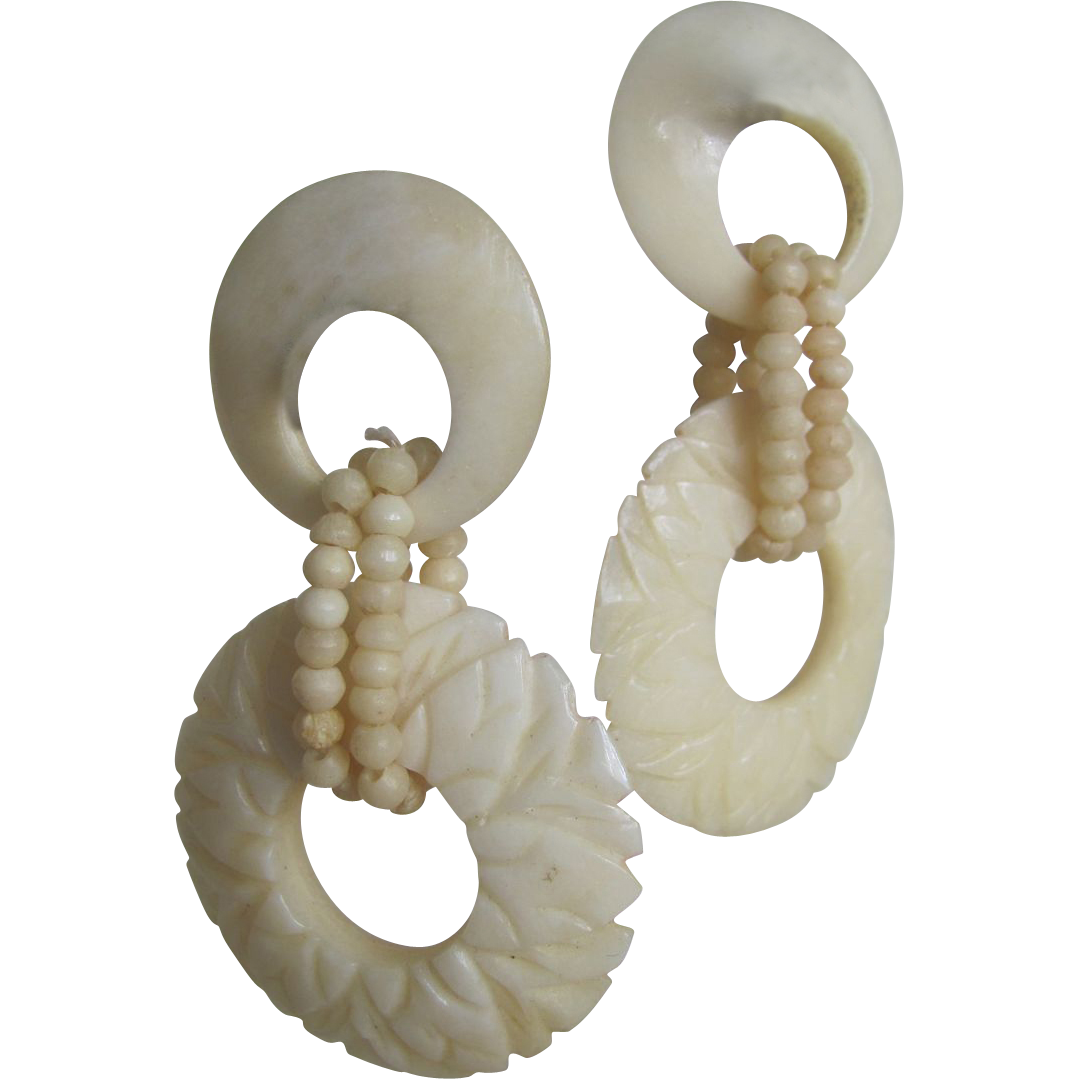 Vintage Carved Bone 2 Part Earrings for Pierced Ears