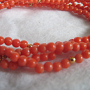 Vintage Faux Salmon Coral Opera Length Necklace  2 for 1 offer