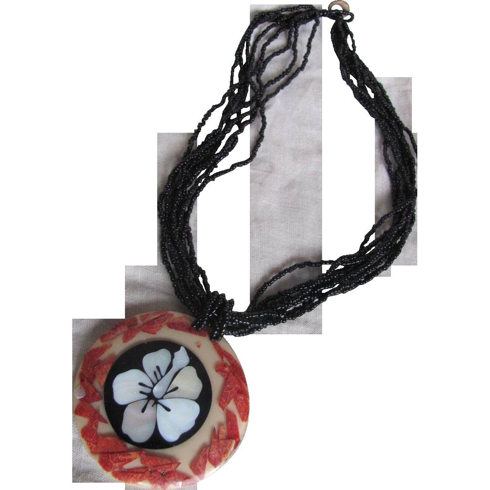 Vintage Gerda Lynggaard Monies Black Coral Torsade Necklace..with Inlaid Organic Elements