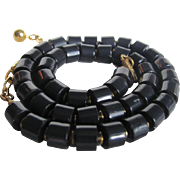 Mid Century Deep Navy Trifari Lucite Rod Necklace