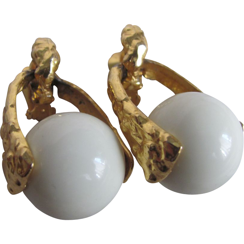 1980's Signed K.J.L. Lucite Ball Oversize 22kt GP Clip Earrings
