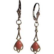 Vintage 12k GF Italian Angel skin Coral Cabochon Drop pierced  Earrings