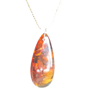 Vintage Baltic Amber Pendant on Goldtone Chain