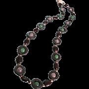 Vintage Jacob Bengel Style Genuine Jade, Rose Quartz and Garnet Bead Necklace