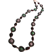 Vintage Modernist Style Genuine Jade, Rose Quartz and Garnet Bead Necklace