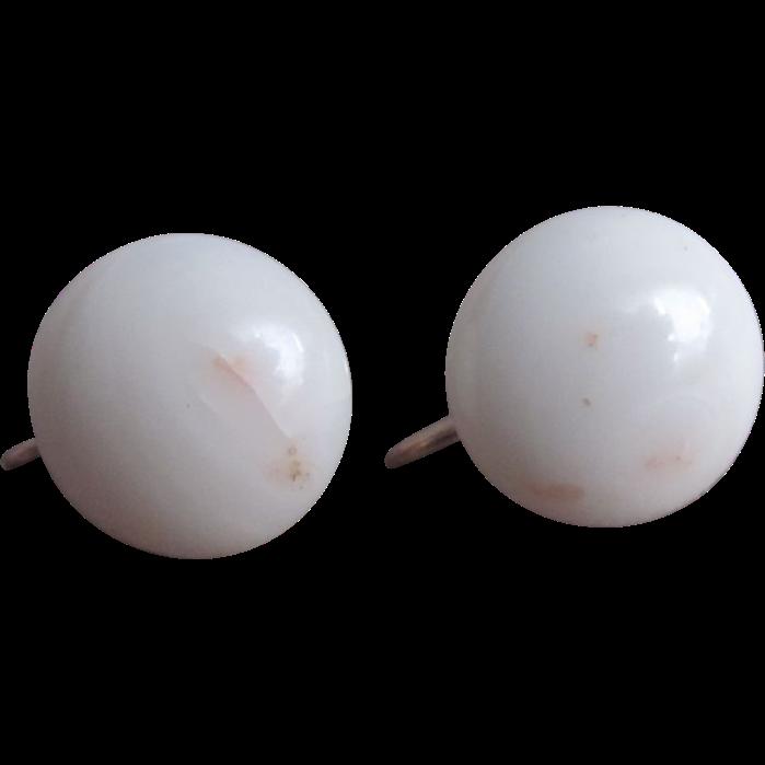 Vintage 14kt Gold White Angel Skin 15mm Cabochons Screwback Earrings