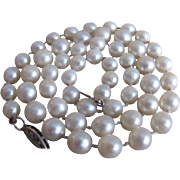 Vintage 10K Akoya Cultured Pearl Graduated Knotted Necklace  with Gemologist's Certified Appraisal